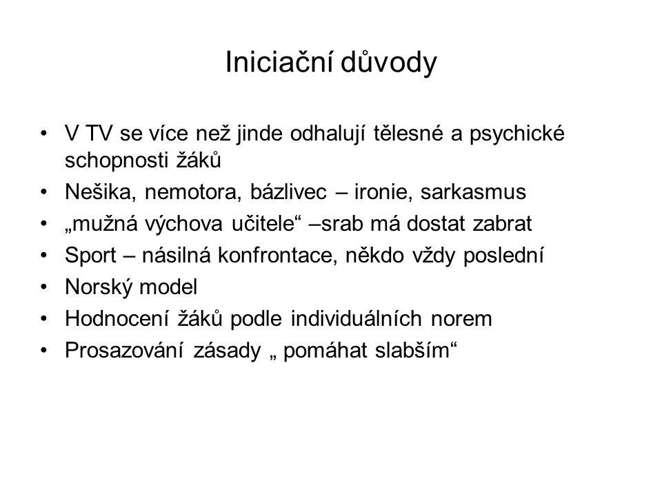 Iniciační důvody V TV se více než jinde odhalují tělesné a psychické schopnosti žáků. Nešika, nemotora, bázlivec – ironie, sarkasmus.