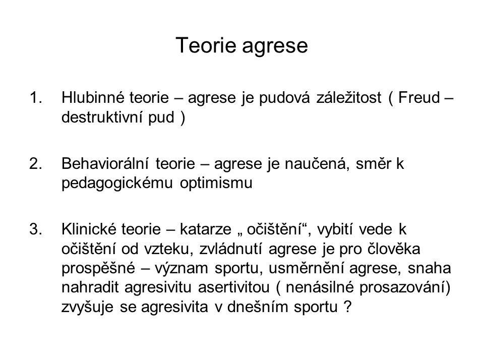 Teorie agrese Hlubinné teorie – agrese je pudová záležitost ( Freud – destruktivní pud )