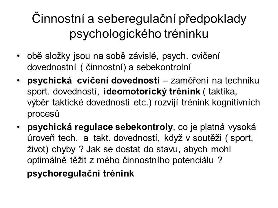 Činnostní a seberegulační předpoklady psychologického tréninku