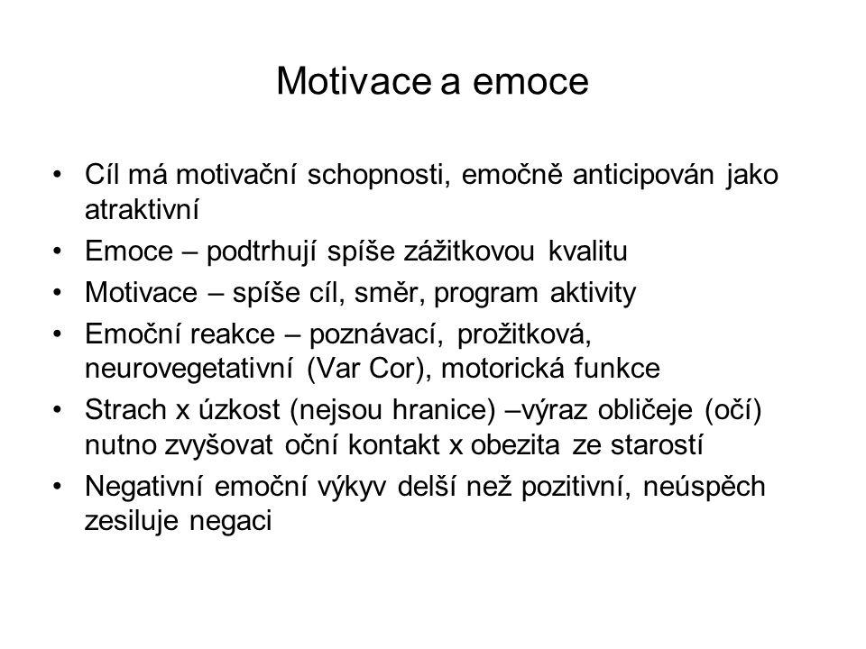 Motivace a emoce Cíl má motivační schopnosti, emočně anticipován jako atraktivní. Emoce – podtrhují spíše zážitkovou kvalitu.