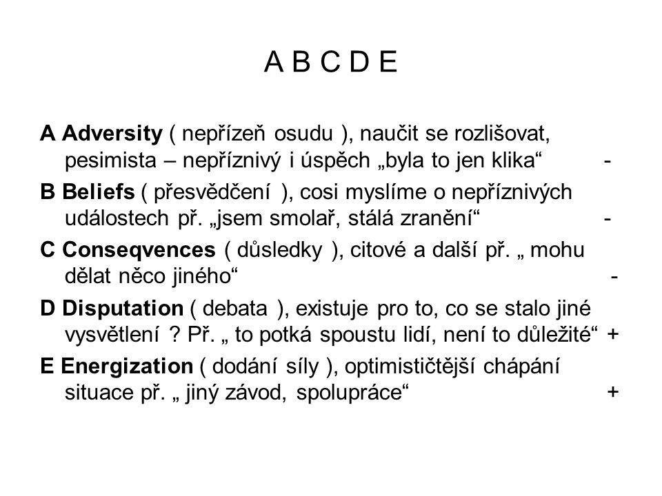 """A B C D E A Adversity ( nepřízeň osudu ), naučit se rozlišovat, pesimista – nepříznivý i úspěch """"byla to jen klika -"""