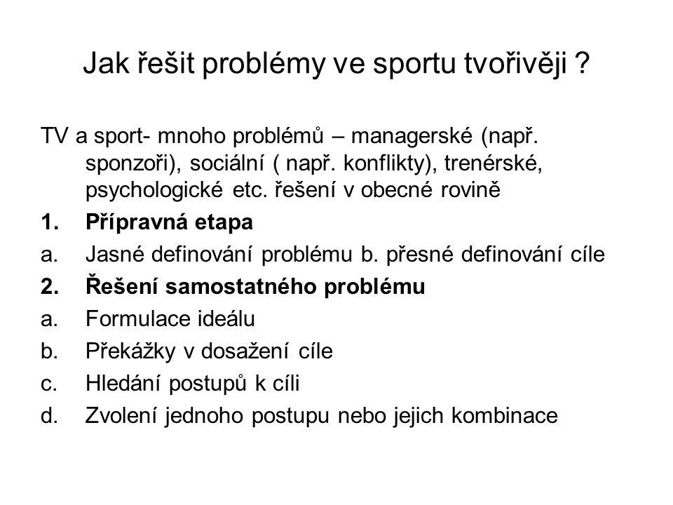 Jak řešit problémy ve sportu tvořivěji