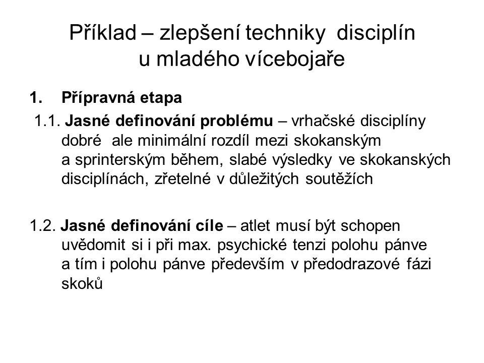 Příklad – zlepšení techniky disciplín u mladého vícebojaře