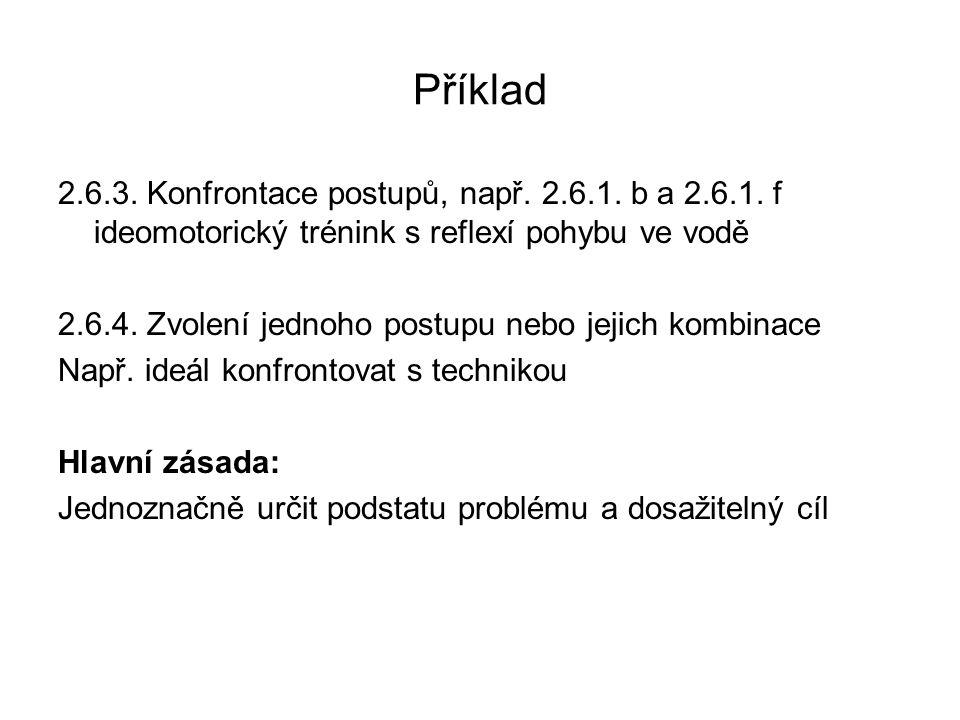 Příklad 2.6.3. Konfrontace postupů, např. 2.6.1. b a 2.6.1. f ideomotorický trénink s reflexí pohybu ve vodě.