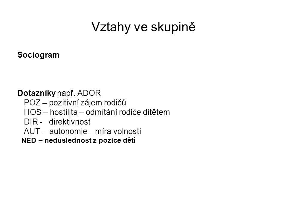 Vztahy ve skupině Sociogram Dotazníky např. ADOR