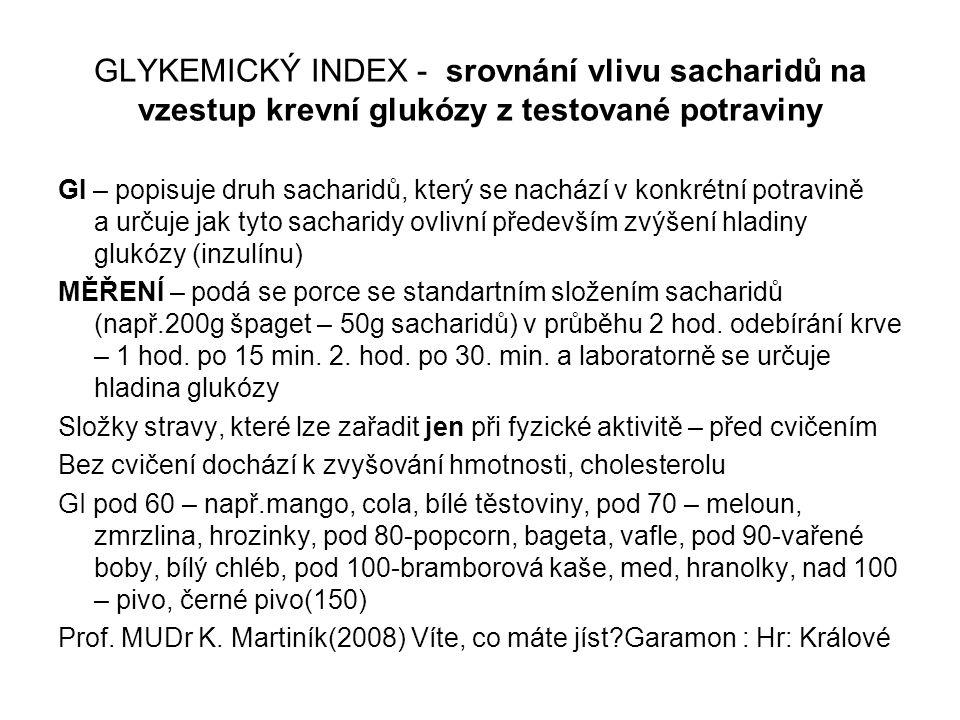GLYKEMICKÝ INDEX - srovnání vlivu sacharidů na vzestup krevní glukózy z testované potraviny