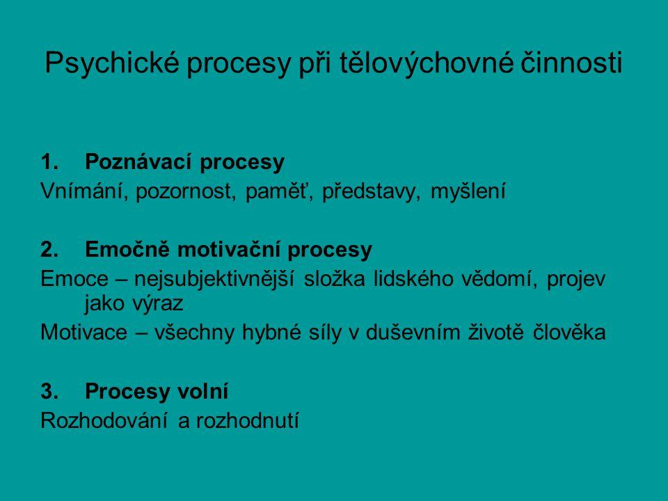 Psychické procesy při tělovýchovné činnosti