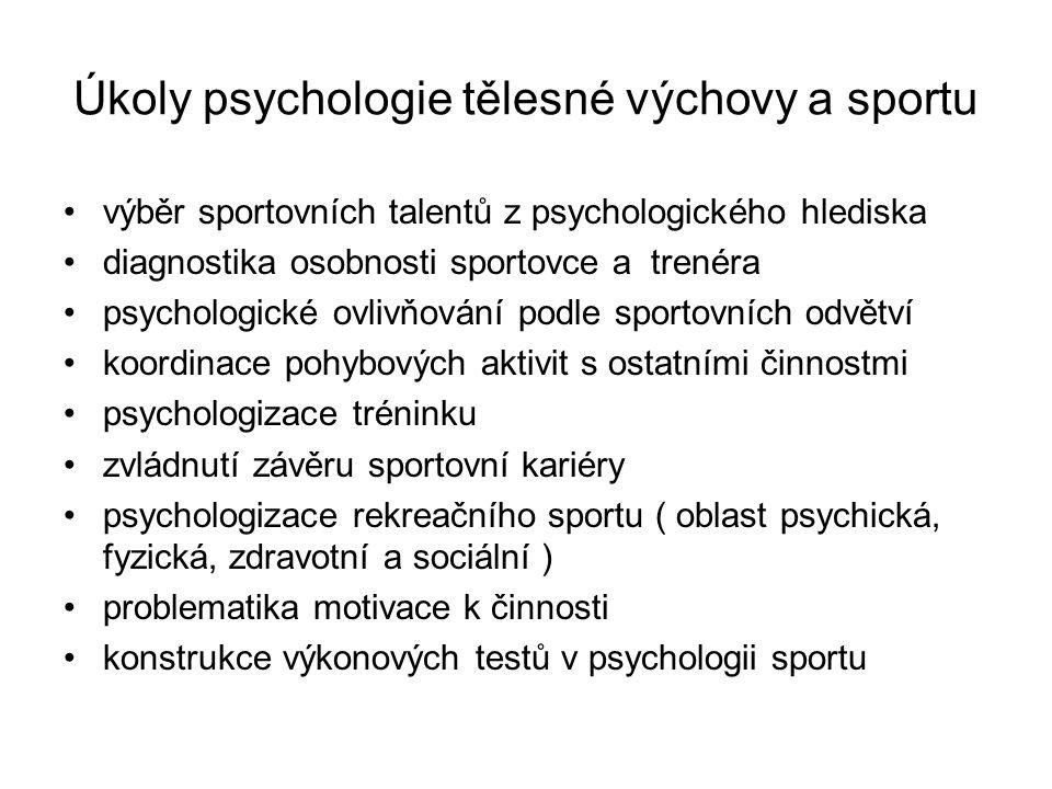 Úkoly psychologie tělesné výchovy a sportu