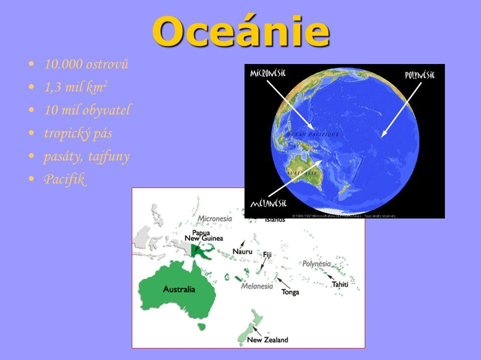 Oceánie 10.000 ostrovů 1,3 mil km2 10 mil obyvatel tropický pás