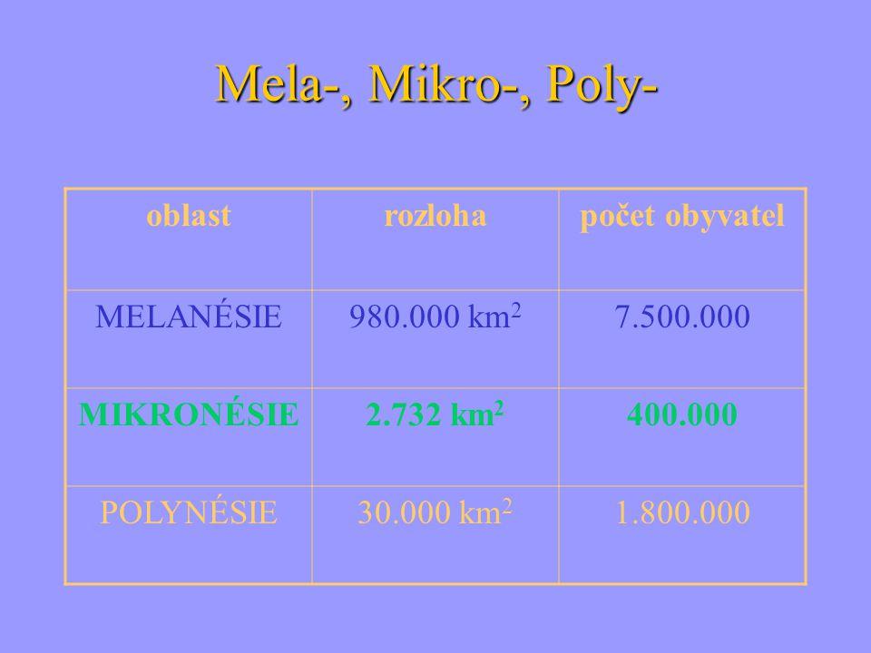 Mela-, Mikro-, Poly- oblast rozloha počet obyvatel MELANÉSIE