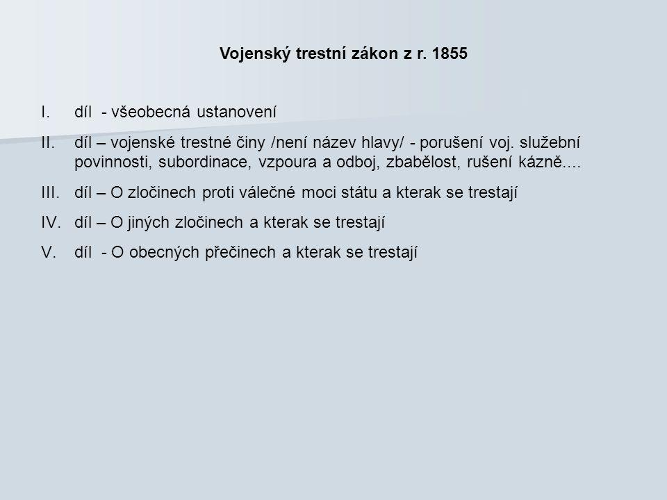 Vojenský trestní zákon z r. 1855