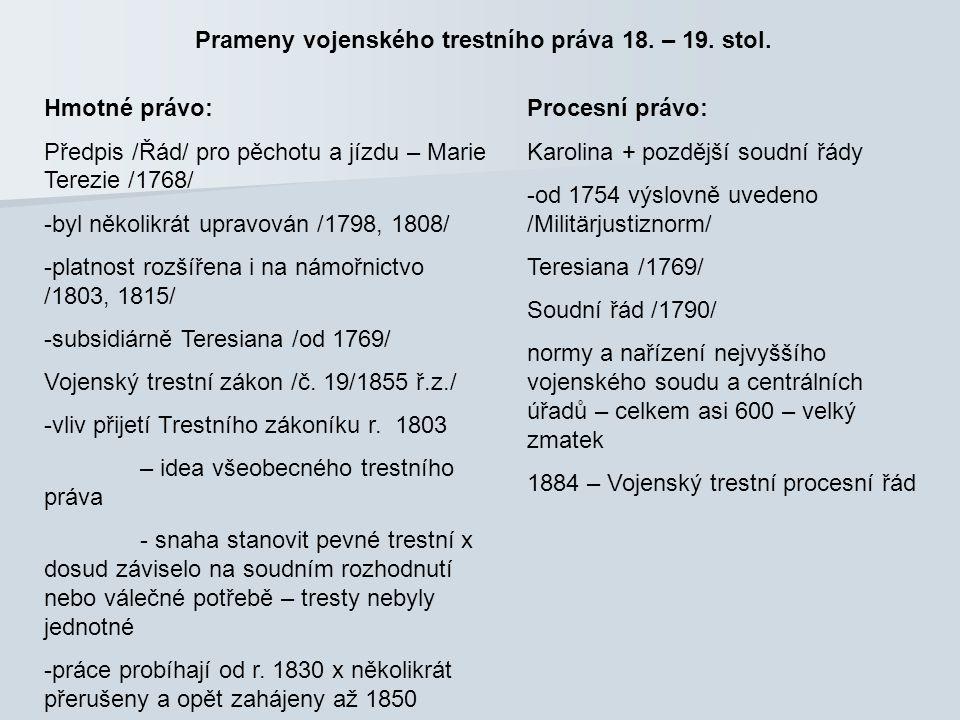 Prameny vojenského trestního práva 18. – 19. stol.
