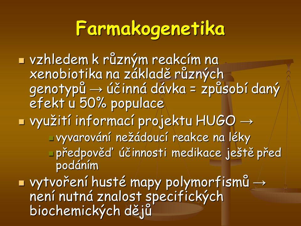 Farmakogenetika vzhledem k různým reakcím na xenobiotika na základě různých genotypů → účinná dávka = způsobí daný efekt u 50% populace.