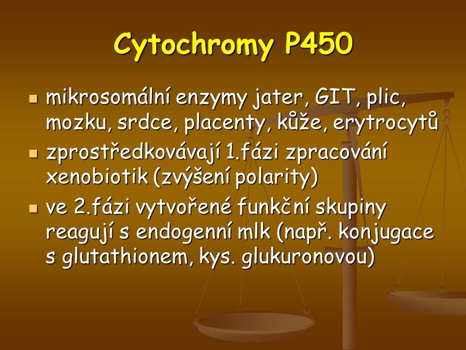Cytochromy P450 mikrosomální enzymy jater, GIT, plic, mozku, srdce, placenty, kůže, erytrocytů.