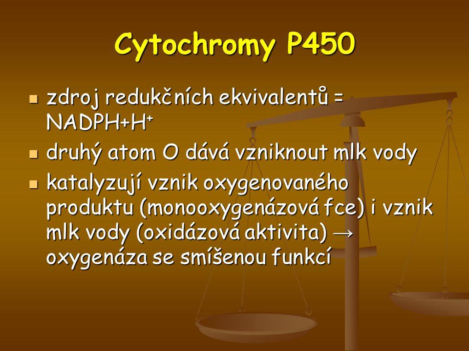 Cytochromy P450 zdroj redukčních ekvivalentů = NADPH+H+