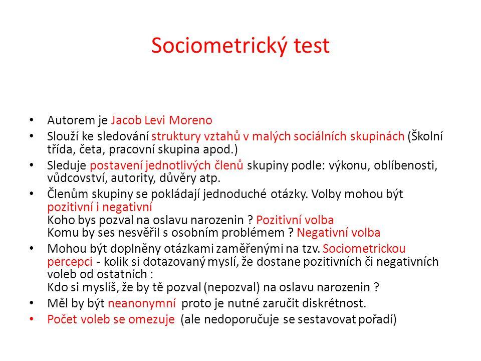 Sociometrický test Autorem je Jacob Levi Moreno