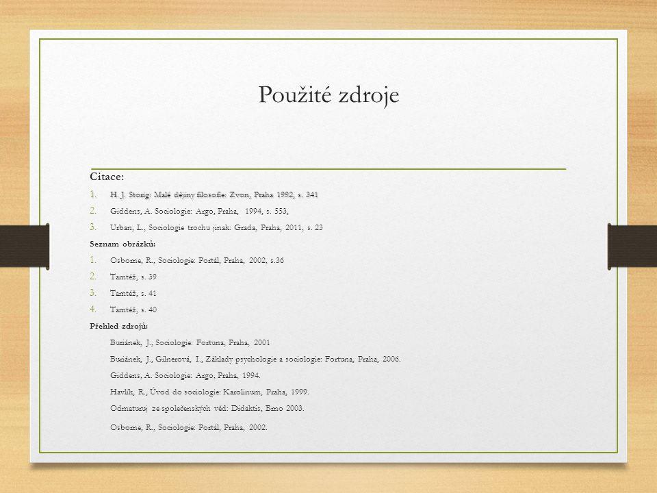 Použité zdroje Citace: Osborne, R., Sociologie: Portál, Praha, 2002.