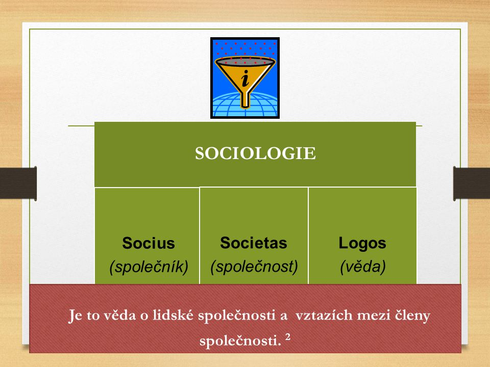 Je to věda o lidské společnosti a vztazích mezi členy společnosti. 2