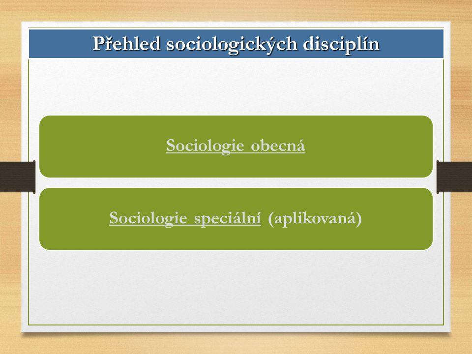 Přehled sociologických disciplín