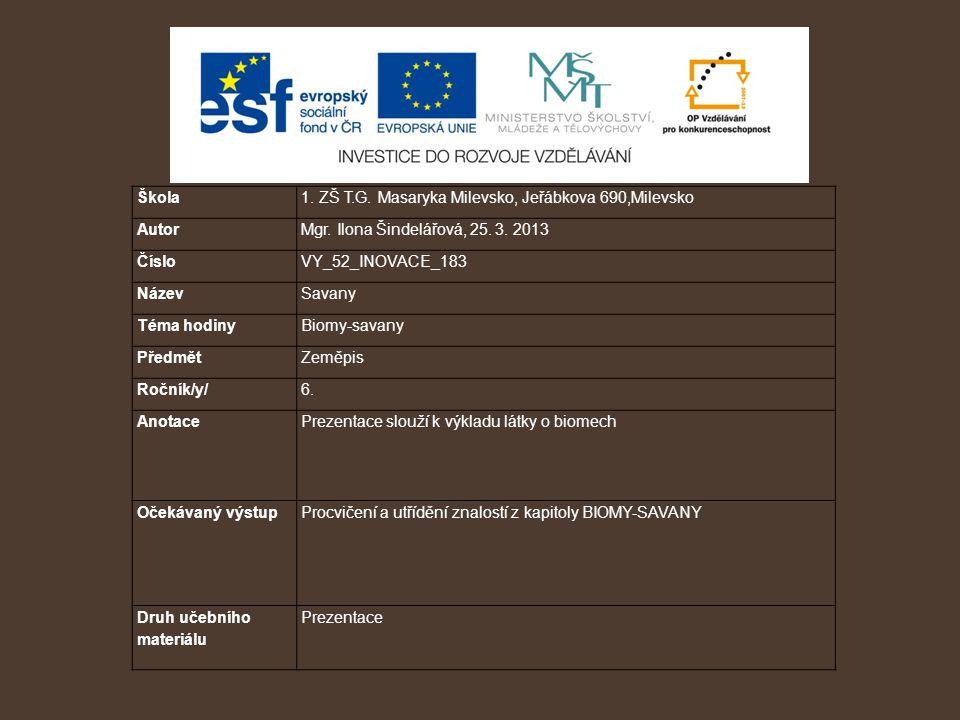 Škola 1. ZŠ T.G. Masaryka Milevsko, Jeřábkova 690,Milevsko. Autor. Mgr. Ilona Šindelářová, 25. 3. 2013.
