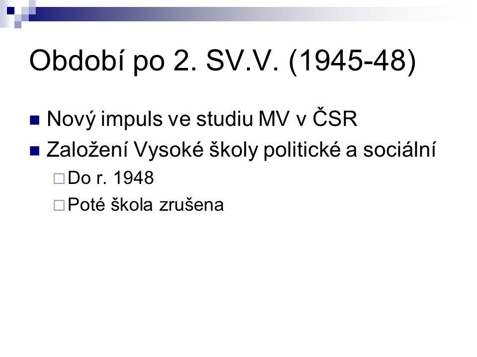 Období po 2. SV.V. (1945-48) Nový impuls ve studiu MV v ČSR