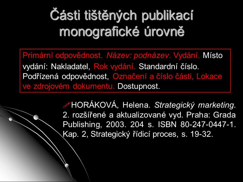 Části tištěných publikací monografické úrovně