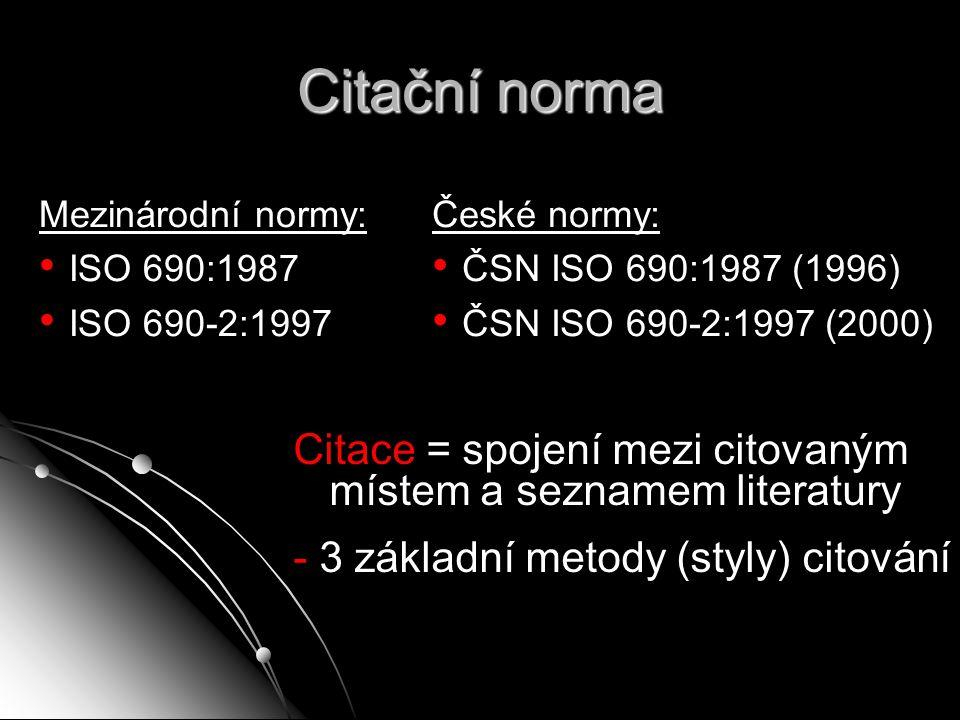 Citační norma Mezinárodní normy: ISO 690:1987. ISO 690-2:1997. České normy: ČSN ISO 690:1987 (1996)