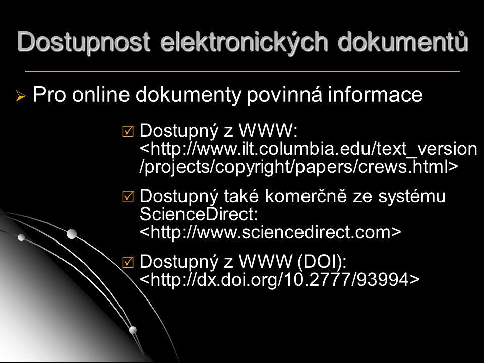 Dostupnost elektronických dokumentů