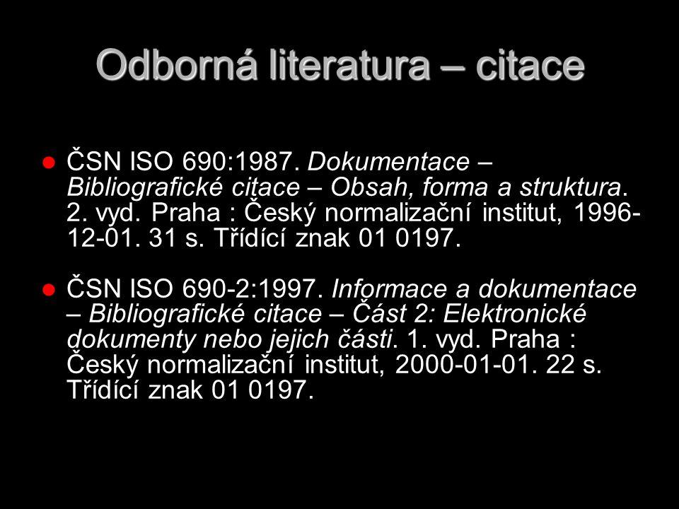 Odborná literatura – citace