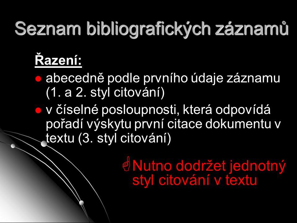 Seznam bibliografických záznamů