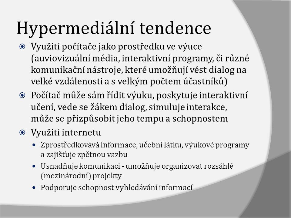 Hypermediální tendence
