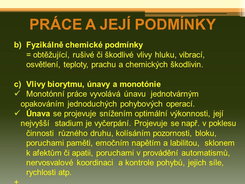 PRÁCE A JEJÍ PODMÍNKY b) Fyzikálně chemické podmínky