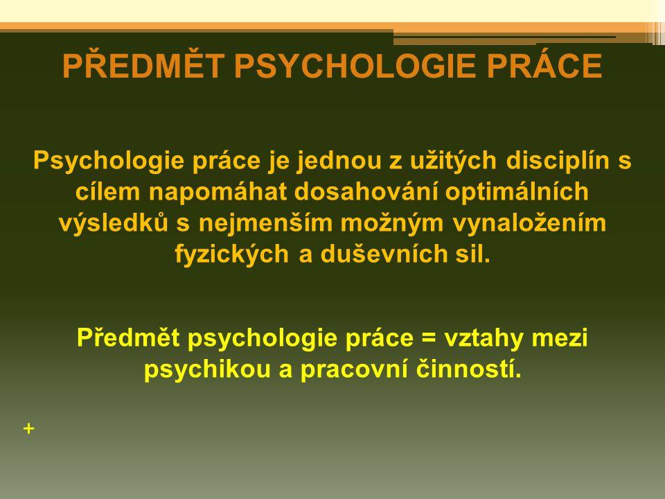 PŘEDMĚT PSYCHOLOGIE PRÁCE