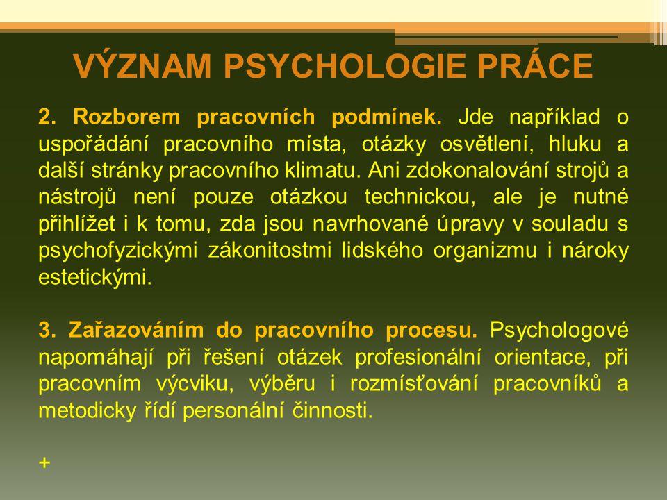 VÝZNAM PSYCHOLOGIE PRÁCE