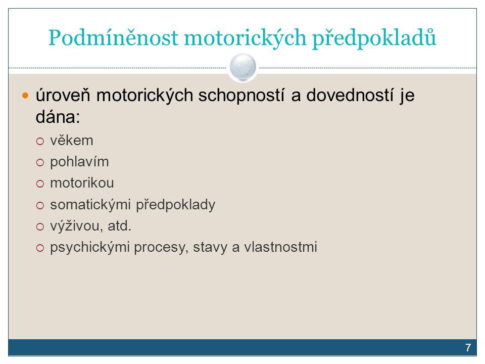Podmíněnost motorických předpokladů