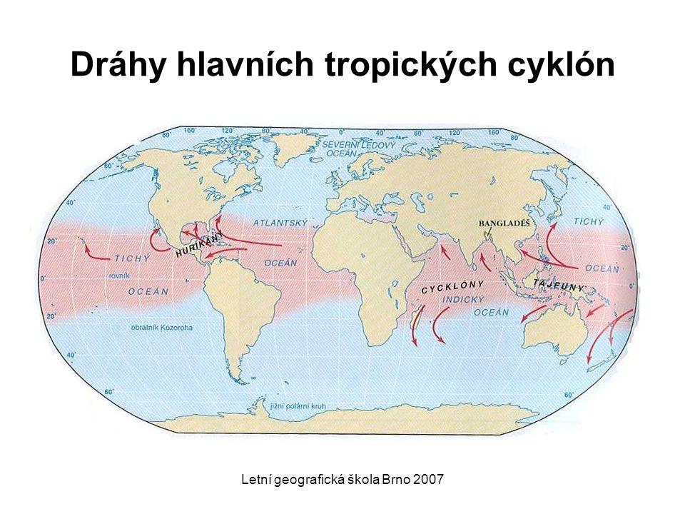 Dráhy hlavních tropických cyklón