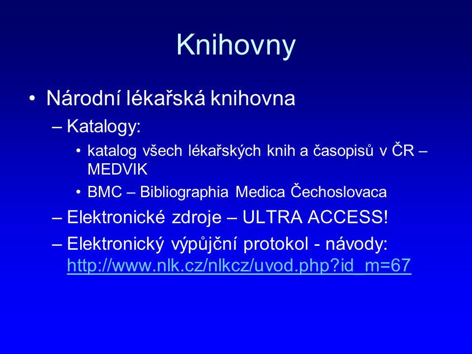 Knihovny Národní lékařská knihovna Katalogy: