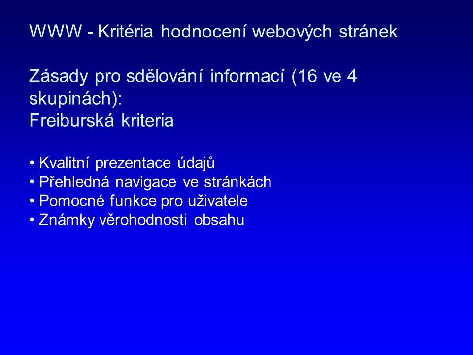 WWW - Kritéria hodnocení webových stránek
