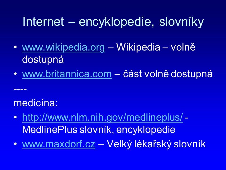 Internet – encyklopedie, slovníky