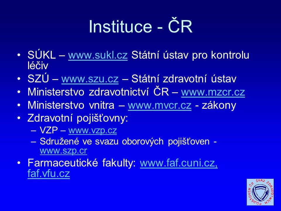 Instituce - ČR SÚKL – www.sukl.cz Státní ústav pro kontrolu léčiv
