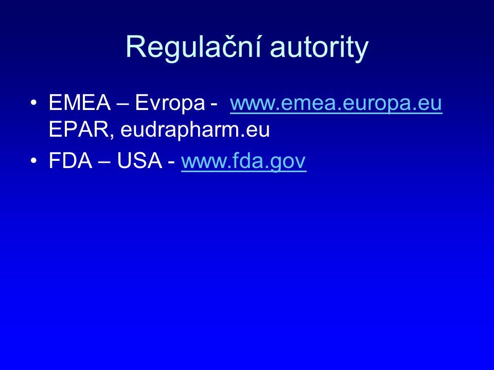 Regulační autority EMEA – Evropa - www.emea.europa.eu EPAR, eudrapharm.eu FDA – USA - www.fda.gov