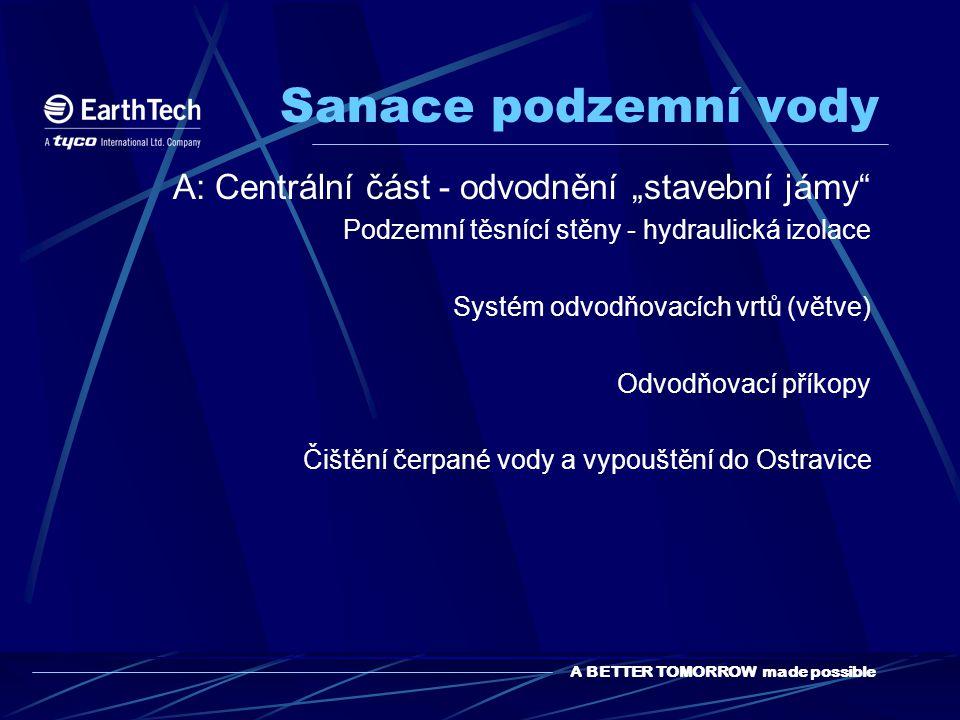 """Sanace podzemní vody A: Centrální část - odvodnění """"stavební jámy"""