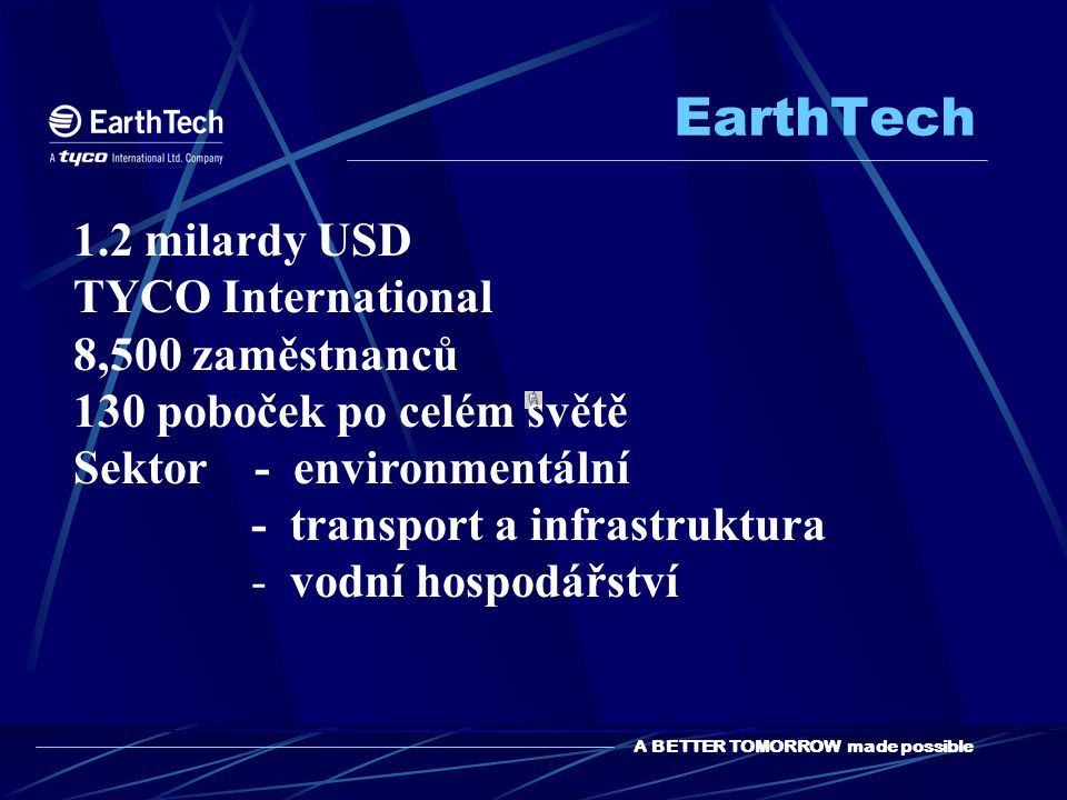 EarthTech 1.2 milardy USD TYCO International 8,500 zaměstnanců