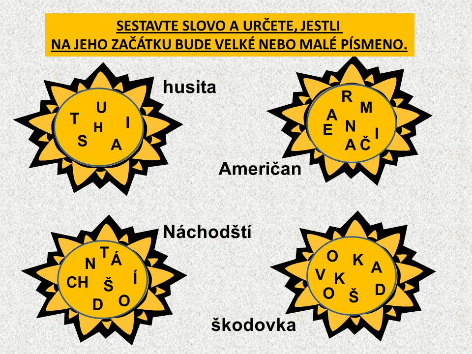 husita Američan Náchodští škodovka SESTAVTE SLOVO A URČETE, JESTLI
