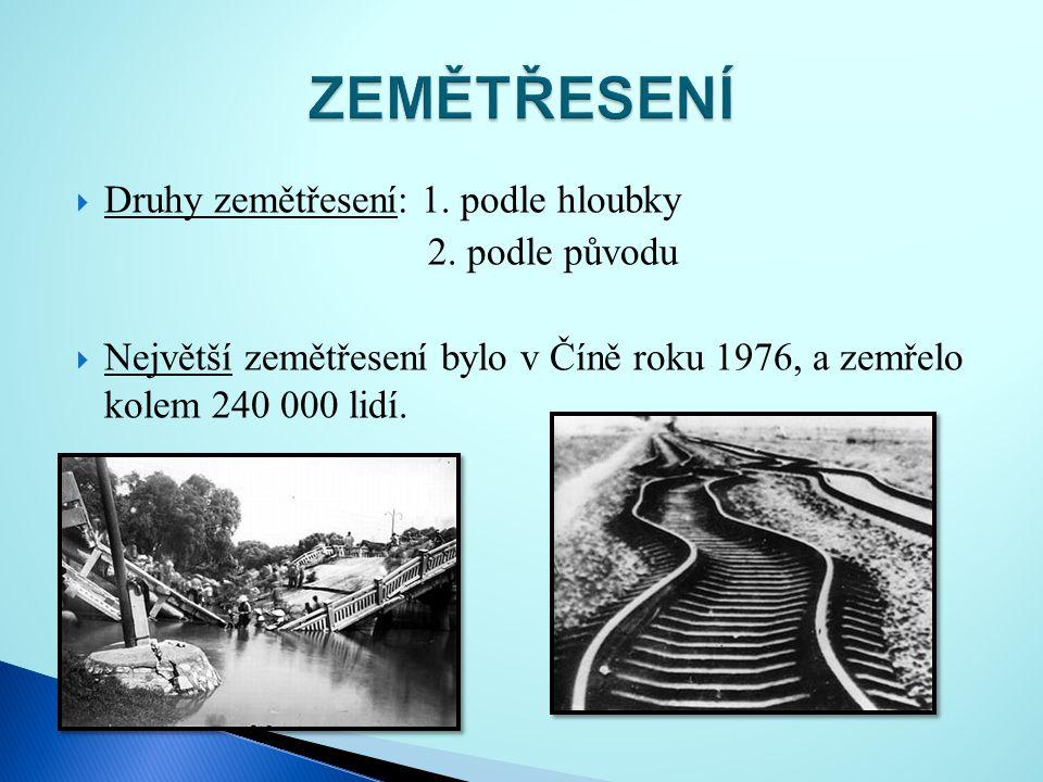 ZEMĚTŘESENÍ Druhy zemětřesení: 1. podle hloubky 2. podle původu