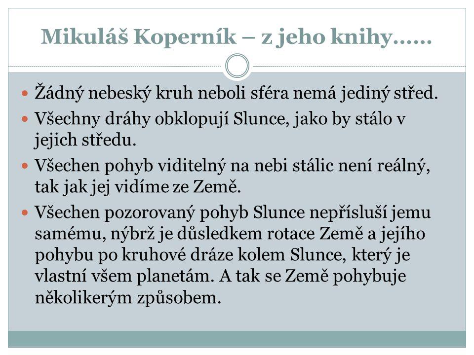 Mikuláš Koperník – z jeho knihy……