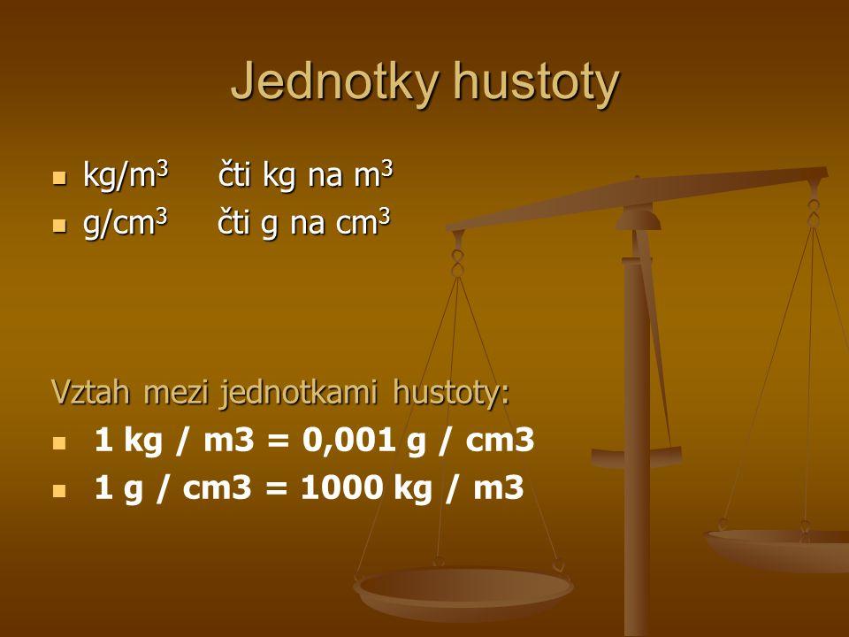 Jednotky hustoty kg/m3 čti kg na m3 g/cm3 čti g na cm3