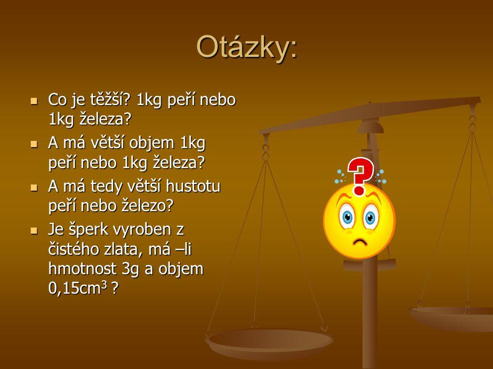 Otázky: Co je těžší 1kg peří nebo 1kg železa