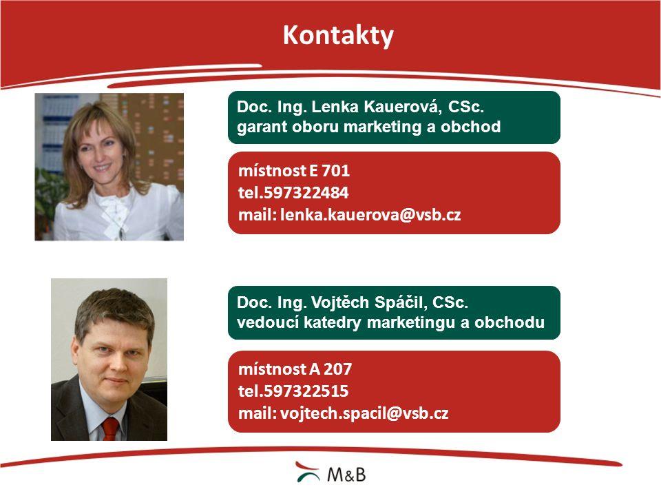 Kontakty místnost E 701 tel.597322484 mail: lenka.kauerova@vsb.cz
