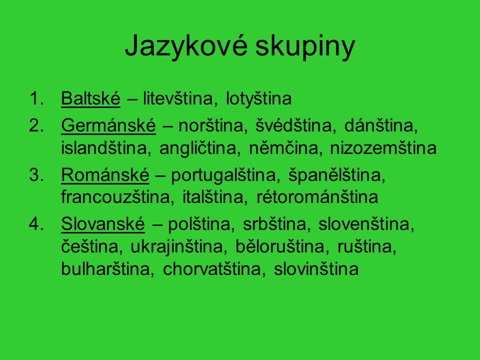 Jazykové skupiny Baltské – litevština, lotyština